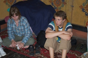 Cole and Layla in Namgay's house.