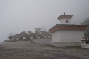 Chortens on the road to Punakha.  At 10,500 feet.