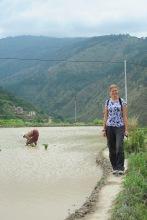 Walking along the rice patties....