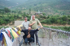 Crossing the suspension bridge, Punakha
