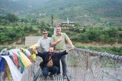 Crossing the suspension bridge, Punakha