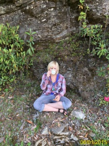 Drinking tea on the roadside