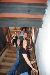 Up the steep stairs in Trongsa Dzong!
