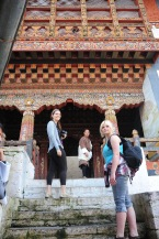 On the steps to the temple.