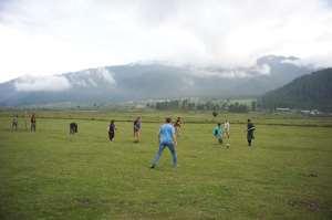 On the soccer pitch, Phobjikha Valley, Bhutan
