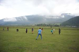 On the soccer pitch, Phobjikha Valley, Bhutan